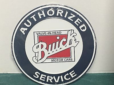 "BUICK embossed metal sign 12"" round authorized service Buick motor cars"