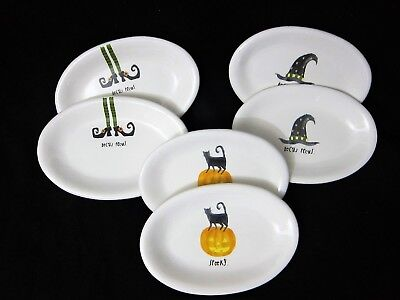 (6) RAE DUNN Halloween APPETIZER DESSERT PLATES Witch Hat Cat Pumpkin 8