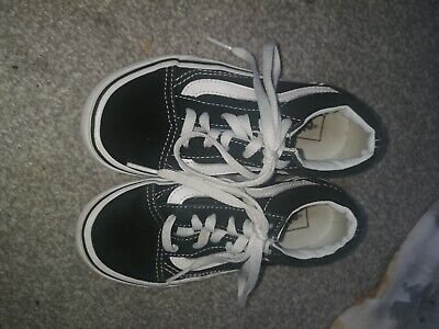 VANS black and white trainers junior size 12