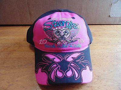 Pink ladies womens Sturgis rally 2016 black hills baseball hat motorcycle 76th