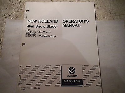 New Holland 48 Snow Blade For Mz Riding Mowers Operators Manual