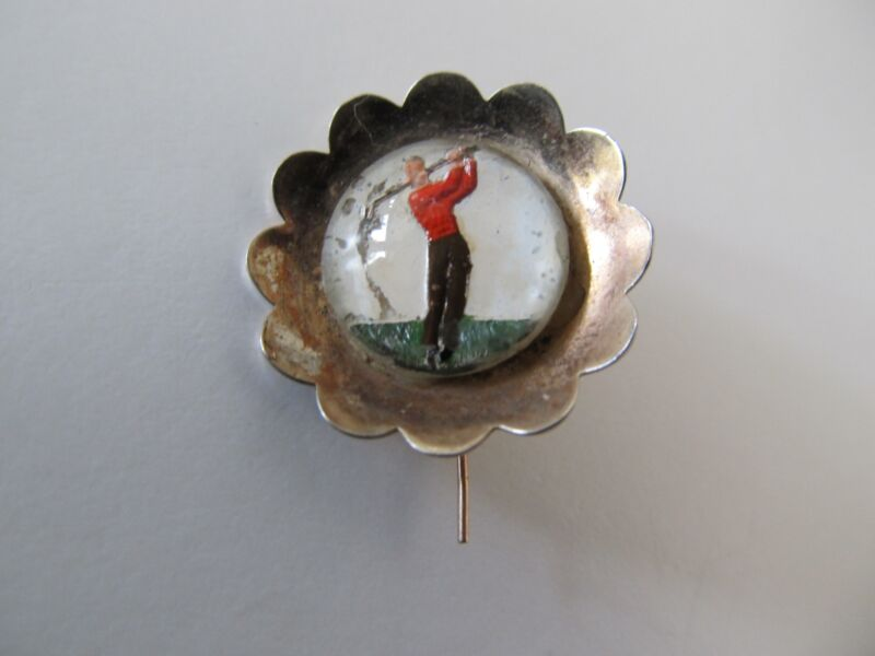 OLD Reversed Glass Golfer Brooch Pin AS IS