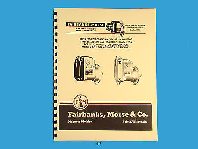 Fairbanks Morse Magneto Instruct Parts Manual For Wisconsin Engines 417