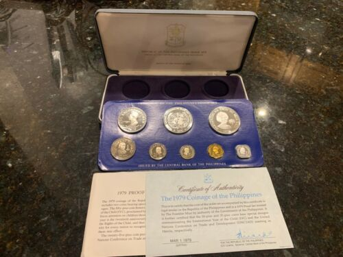 PHILIPPINES 1979 8-COIN PROOF SET COMPLETE WITH CERTIFICATE AND LITERATURE