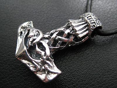 Thor s Hammer 925'er Silber + Echtlederband Anhänger Wikinger   / KA 122