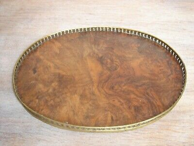 Circa 1905 Figured Walnut Butlers letter tray with solid Brass gallery and feet