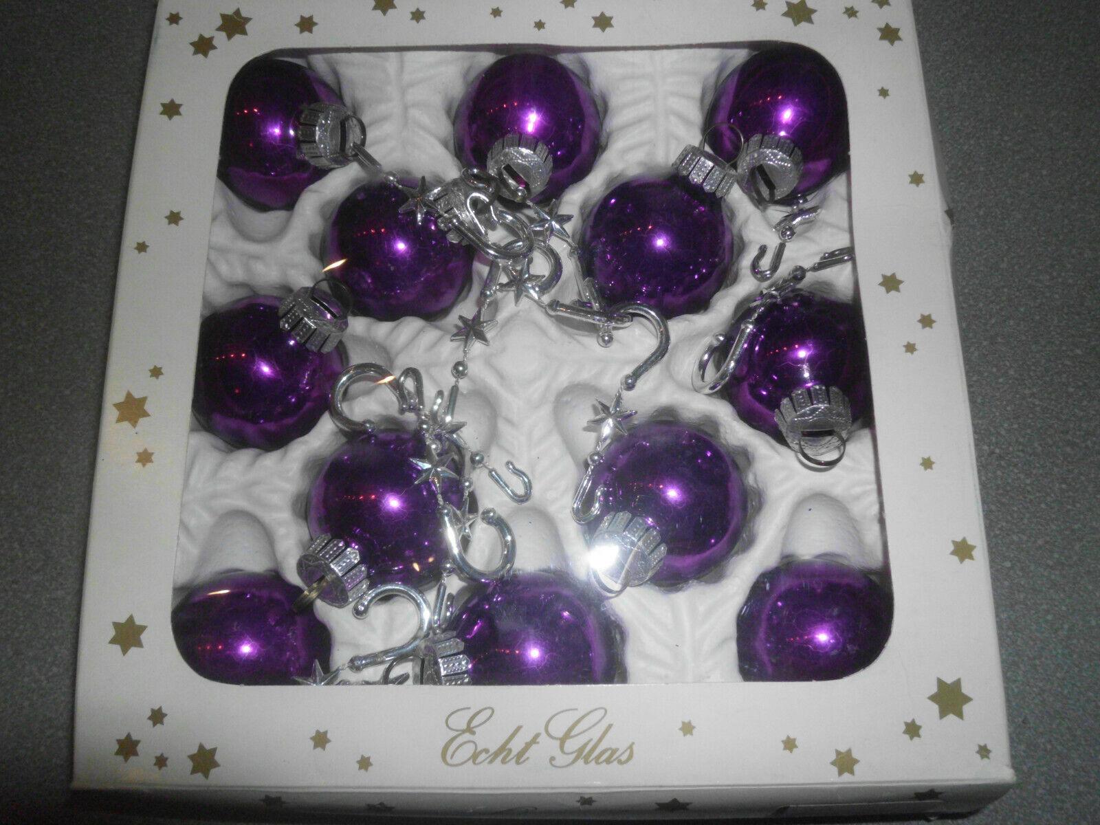Vintage Weihnachtskugeln Glaskugeln lila Weihnachten 70er Jahre