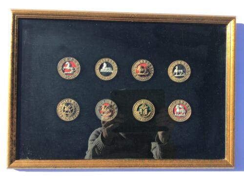 8 British Helmet Plate Centre Badges Framed