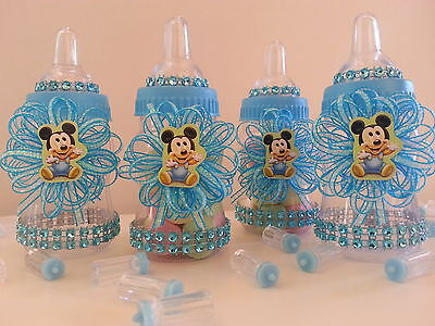 12 Baby Mickey Mouse Fillable Bottles Baby Shower Favors Prizes ~Boy - Baby Mickey Party Decorations