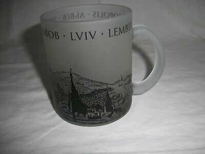 "Ukraine Picture View Frosted Glass Coffee Mug LVIV 3-3/4"" high"