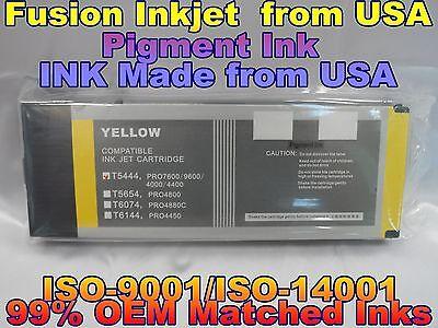 compatible Epson Stylus Pro 4000 4400 7600 9600 Yellow Pigment ink 220ml T5444 j