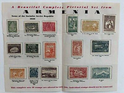 16 Rare Armenia Stamps 1920 Pictorial Set
