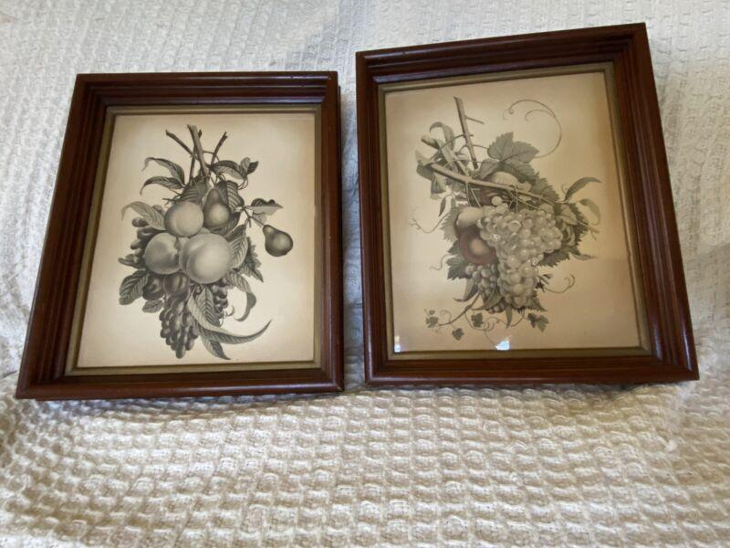 Jean Louis Prevost Two Victorian Floral Fruit Prints Pair Antique Wood Frames