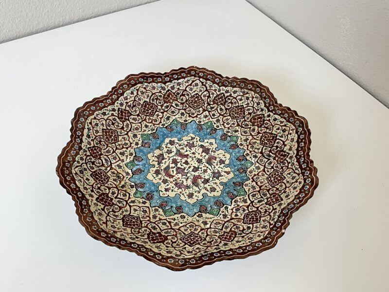 Persian Minakari Copper Enamel Painted Plate Vintage tray dish