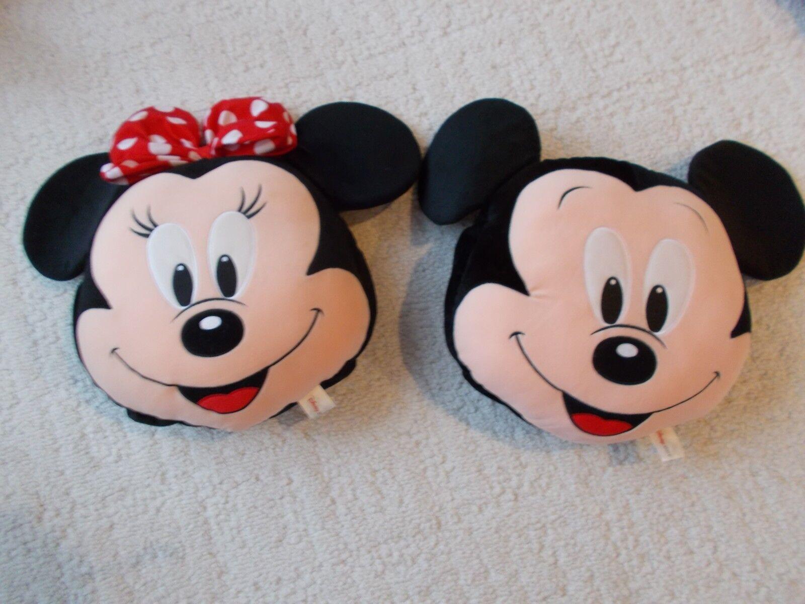 "2 Disney's MICKEY & MINNIE MOUSE HEAD THROW PILLOWS 22"" X 18"