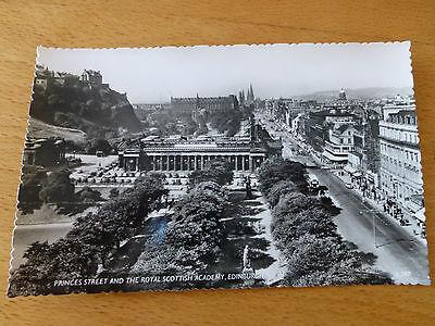 Vintage B&W postcard of Princes Street and Royal Scottish Academy, Edinburgh