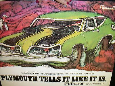 1969 Plymouth Cuda 340 Poster Advert Repro MOPAR 1989 of 1969 Origi. FAST SHP