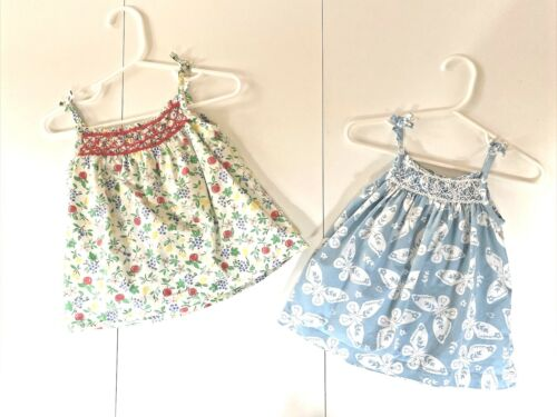 Lot 2 Smocked Tops Baby Boden Floral 6-12 M Cotton Mini Shirts