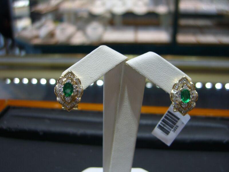 Fine Emerald & Diamond Womens Earrings 14 Karat Yellow Gold New 2.00 Tcw Wow!!!