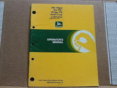 Original John Deere 885 Notill Ridge Row-crop Cultivators Operators Manual.