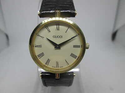 VINTAGE GUCCI 2000M GOLDPLATED QUARTZ MIDSIZE MENS WATCH