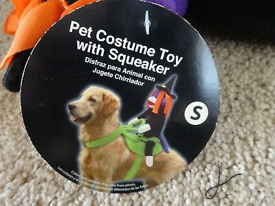 Halloween Pet Dog Costume Witch Toy with Squeaker on Saddle SIZE Small