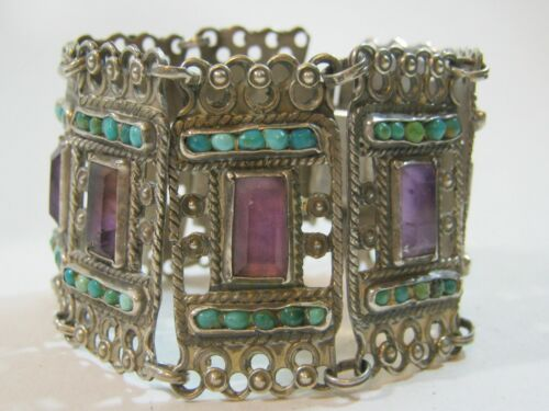 Vintage MATL Matilde Poulat Silver & Amethyst & Turquoise Bracelet ~ Rare