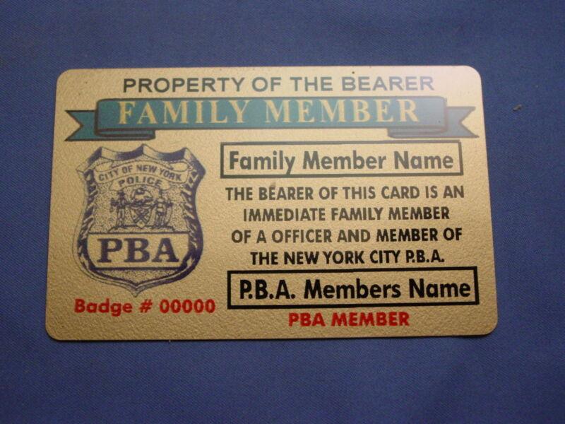 NYPD -PBA- DEA POLICE FAMILY MEMBER CARD IN BRASS NEW YORK  CITY POLICE-FOP-PBA
