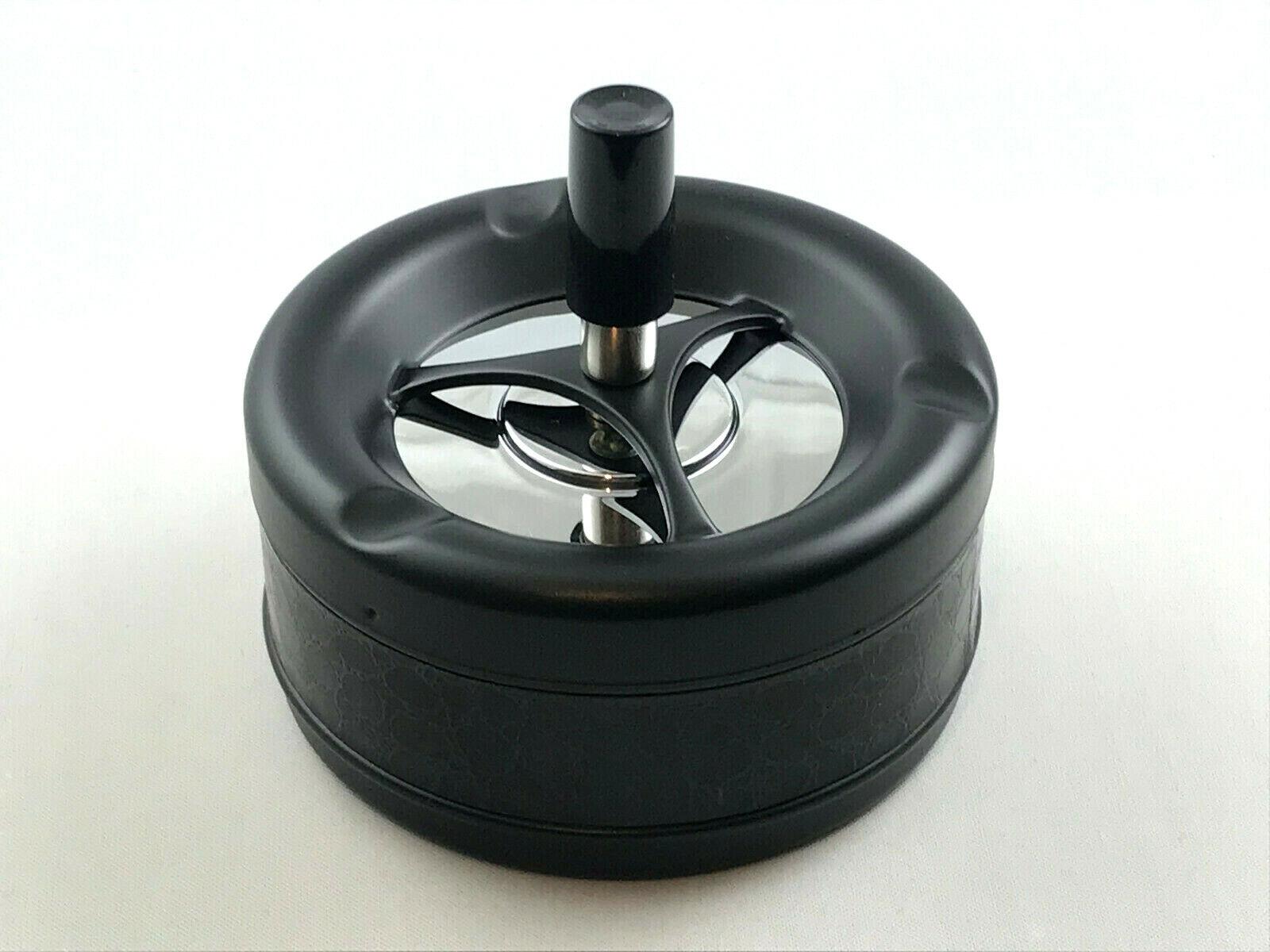Aschenbecher 'Black Kroko' Drehascher schwarz 11cm Durchmesser