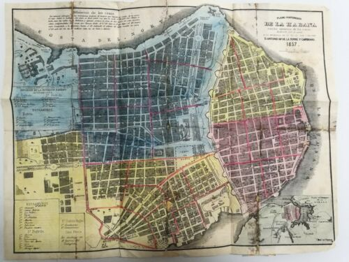 Picturesque Map of Havana with House Numbers, 1857 original of JM de la Torre