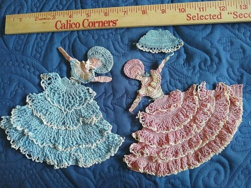 VINTAGE LOT OF 2 HAND MADE CROCHETED/KNITTED LACE APPLIQUES~CRINOLINE LADIES