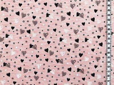 Jersey ' Sweetheart ' kleine Herzen - rosa meliert - Kinderstoff