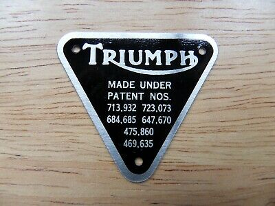 70 4016 T120 TR6 ALUMINIUM PATENT PLATE BADGE WITH RIVETS