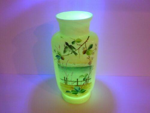 "Vintage Uranium Custard Glass Vase Floral Lake Scene Glows 11"" Tall"