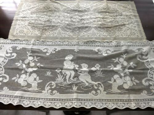 2 VINTAGE LACE RUNNERS ONE FIGURAL