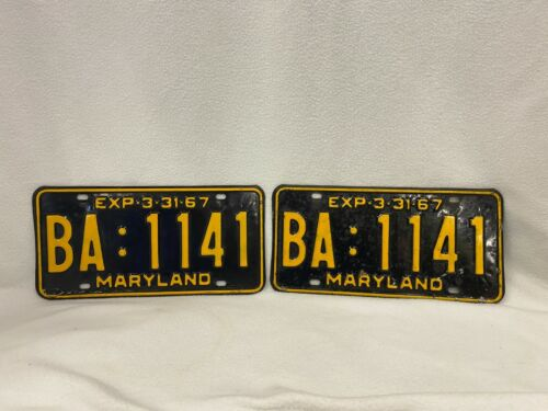 Vintage Maryland MD 1967 License Plates Pair Plate BA 1141 Black with Yellow