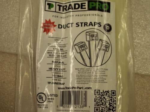 """100 Trade Pro Duct Straps 36"""" x 175Lb Natural Heavy Duty TP-36NStrap ZipTie (1B)"""