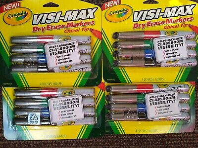 Crayola Dry Erase Chisel Tip Markers Visi-max 4 Pack -lot Of 4 Teacher Supplies