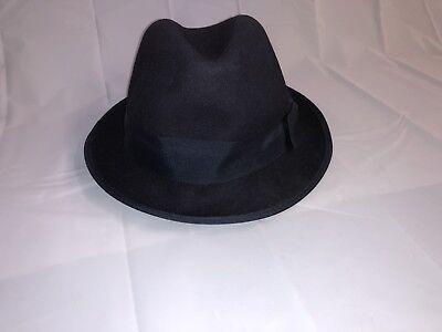 """MEN'S VINTAGE PORK PIE HAT NAVY BLUE ONE SIZE 11"""" TOP HAT ](Navy Blue Top Hat)"""
