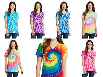 New Ladies Tie-Dye Tee Tye Dyed V-Neck T-Shirt Spiral Women's XS-4XL Groovy Women Tie Dye