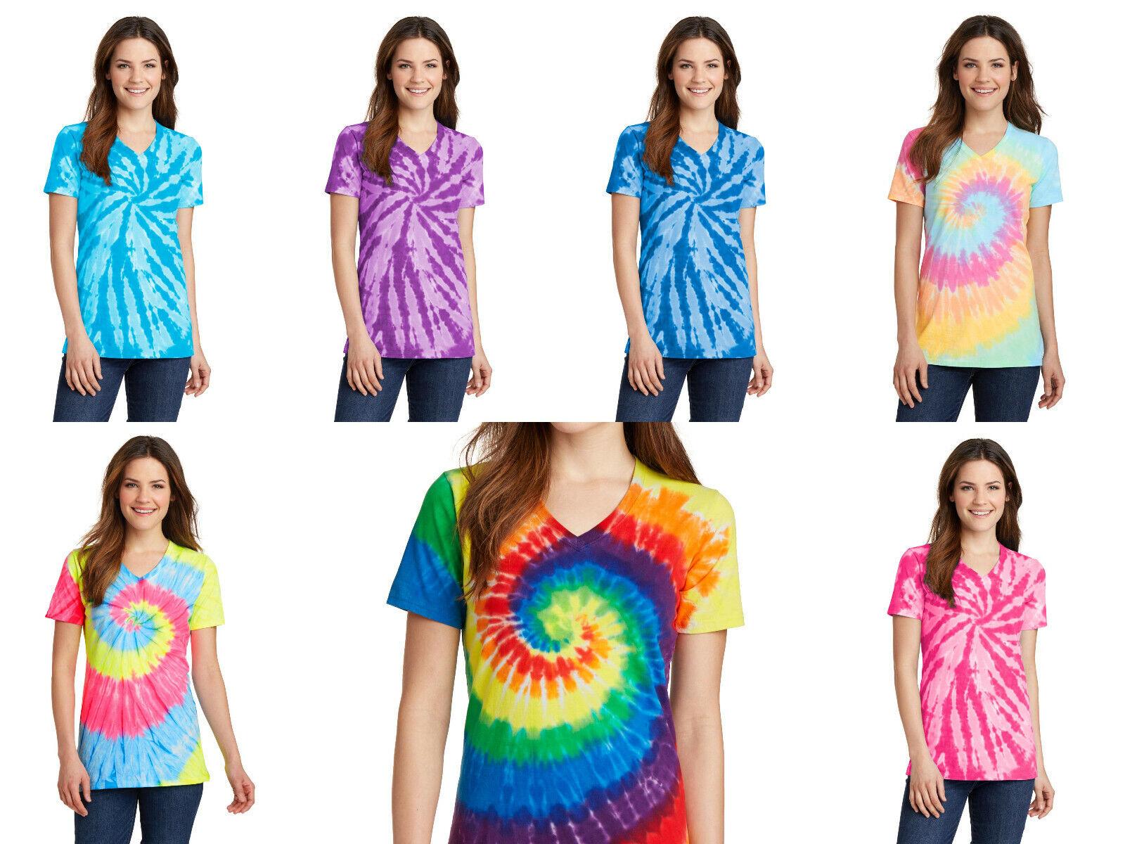 как выглядит New Ladies Tie-Dye Tee Tye Dyed V-Neck T-Shirt Spiral Womens XS-4XL Groovy фото
