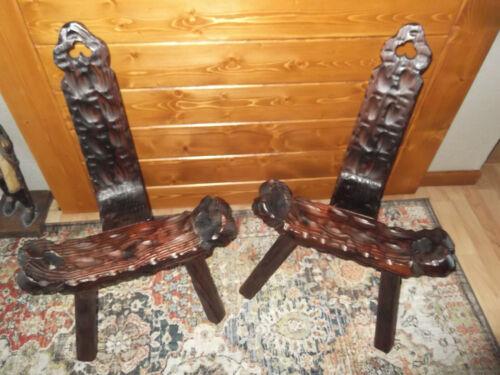 Vintage Wood Carved Three Legged Tri Leg Birthing Chair Lot Made In Spain