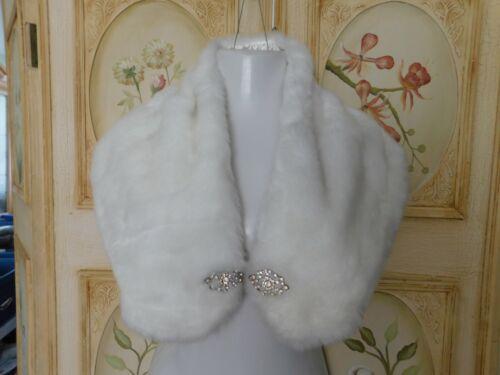 "Holiday Lady White Faux Fur Shawl Wrap, Rhinestone Accents, 20"" by 11"""