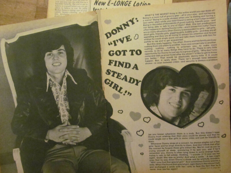 Donny Osmond, Osmonds Brothers, Three Page Vintage Clipping