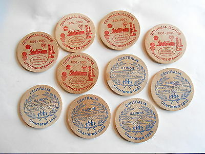 Lot 10 Centralia IL Wooden Dollar 2003 Sesquicentennial Wooden Nickel Tokens