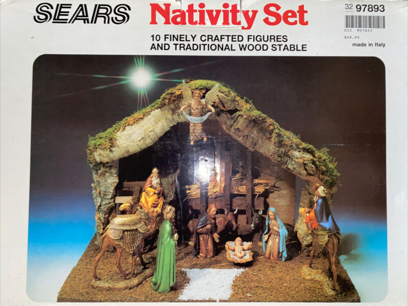 Vintage Sears Nativity Set 10 Figures Wood Stable Made In Italy 97893 w/Box