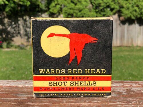 VINTAGE MONTGOMERY WARD WARDS RED HEAD SHOT SHELLS AMMO SHELL BOX 20 GA Empty