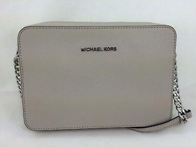 New Michael Kors MK Jet Set Saffiano Leather LG EW Crossbody/Shoulder Bag Cement