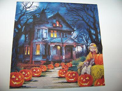 Herbst Halloween Kürbis Gruselhaus   Napkin (Halloween Spooky Kürbis)