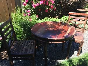 Hardwood Round Table + 2 Chairs